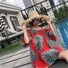 Off-shoulder Patterned A-line Dress