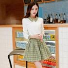 Set: Blouse + Houndstooth Pleated Skirt