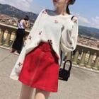 Cherry Printed Long Sleeve Knit Top White - One Size