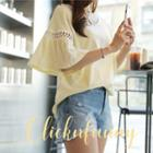 Perforated Ruffled Elbow-sleeve T-shirt