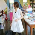 Sleeveless Chiffon Dress With Sash