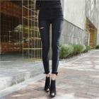 Slit-detail Zip-hem Skinny Pants