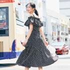 Cutout Ruffled Dotted A-line Dress