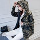 Camouflage Hooded Applique Parka