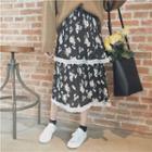 Floral Print Layered Chiffon Midi Skirt