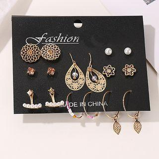 8 Pair Set: Faux Pearl / Alloy Earring (assorted Designs) 01 - 3125 - Gold - One Size