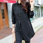 Lace-panel Blouse Black - One Size
