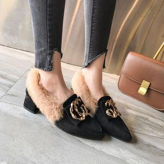 Pointy Twisted Hoop Chunky Heel Furry Pumps
