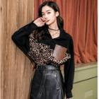Leopard Print Panel Long-sleeve Shirt