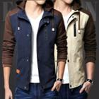 Two-tone Hooded Zip-up Jacket