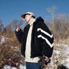 Faux Shearling Contrast-trim Zip Hooded Jacket