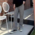 Band-waist Gingham Wide-leg Pants