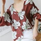 Tassel-detail Floral Print Shirt