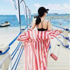 Striped Lace-up Long Jacket