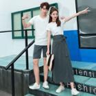 Couple Matching Short-sleeve T-shirt / A-line Maxi Skirt / Shorts