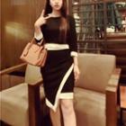 Set: Contrast-trim Top + Layered Skirt