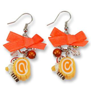 Neon Orange Swiss Roll Ribbon Earrings
