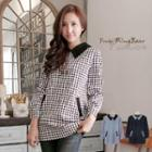 Houndstooth Contrast Peter Pan-collar Top