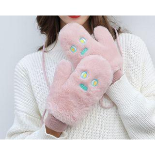 Embroidered Fluffy Gloves