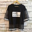 Short-sleeve Mesh-panel Lettering T-shirt