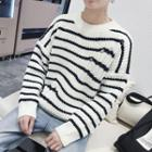 Distressed Striped Loose-fit Sweater