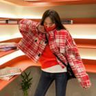 Epaulet Plaid Wool Blend Zip Jacket