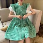 Sleeveless Ruffled Plaid Dress Green - One Size