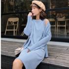 Set: Rib Knit Cardigan + Sleeveless Knit Dress
