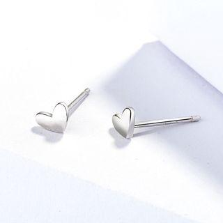 925 Sterling Silver Heart-shape Earrings 925 Silver - One Size