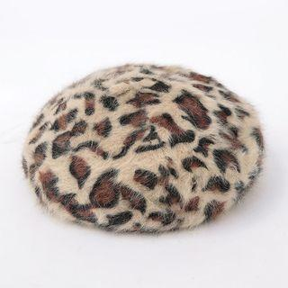Leopard Print Knit Beret Light Beige - One Size