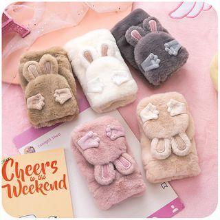 Chenille Rabbit Fingerless Gloves