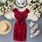 Cap-sleeve Drawstring Mini Sheath Velvet Dress