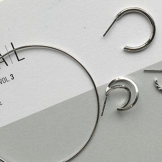 Set Of 4: Metallic Hoop Earrings