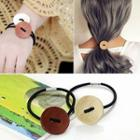 Wooden Button Hair Tie
