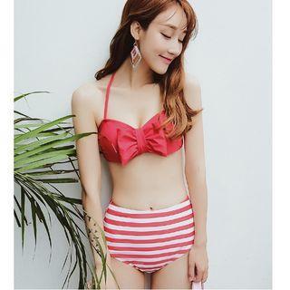 Set: Bow Bikini Top + Striped Swim Skirt