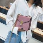 Faux Leather Flap-cover Shoulder Chain Strap Crossbody Bag