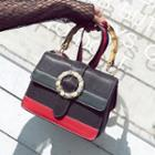 Color Panel Buckled Crossbody Bag