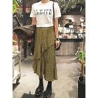Patterned Ruffle-trim Long Skirt
