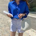 Dip-back Colored Linen Blend Shirt