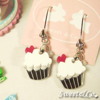 Mini White Cupcake Crystal Silver Earrings