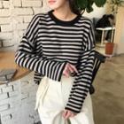 Round-neck Striped Wool Blend Knit Top