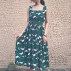 Flower Print Sleeveless A-line Dress