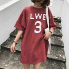 Elbow Sleeve Letter Applique T-shirt Dress