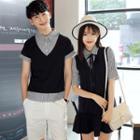 Couple Matching Mock Two Piece Striped Panel Short Sleeve Shirt/ Short Sleeve Shirt Dress