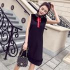 Bow Accent Collared Sleeveless Dress