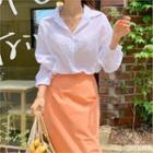 Colored Balloon-sleeve Summer Shirt
