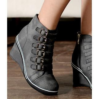 Buckled Wedge Sneakers