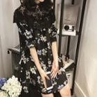 Elbow-sleeve Lace Panel Floral Dress