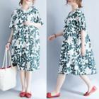 Short-sleeve Leaf Print A-line Dress