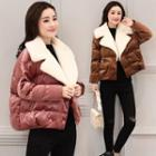 Fleece-lined Double-buttoned Padded Jacket